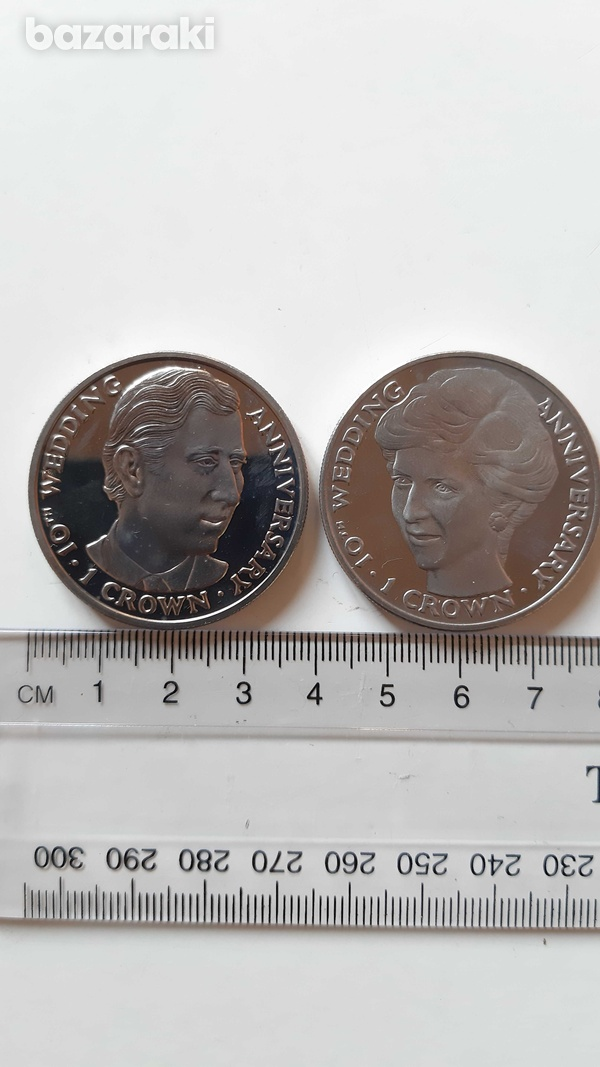 Charles and diana 10th wedding anniversary - 2 crowned-sized coins-1