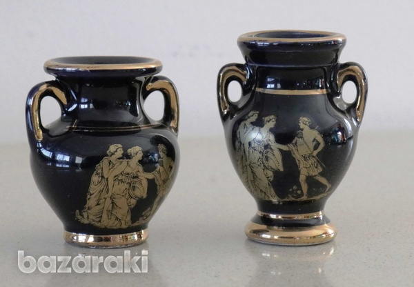 Various vintage collectibles - black with 24k gold - made in greece-4