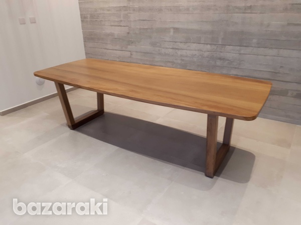 Solid iroko wood dining table-4