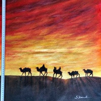 Camels in the desert painting