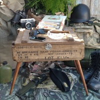 Military wooden grenades hand box.
