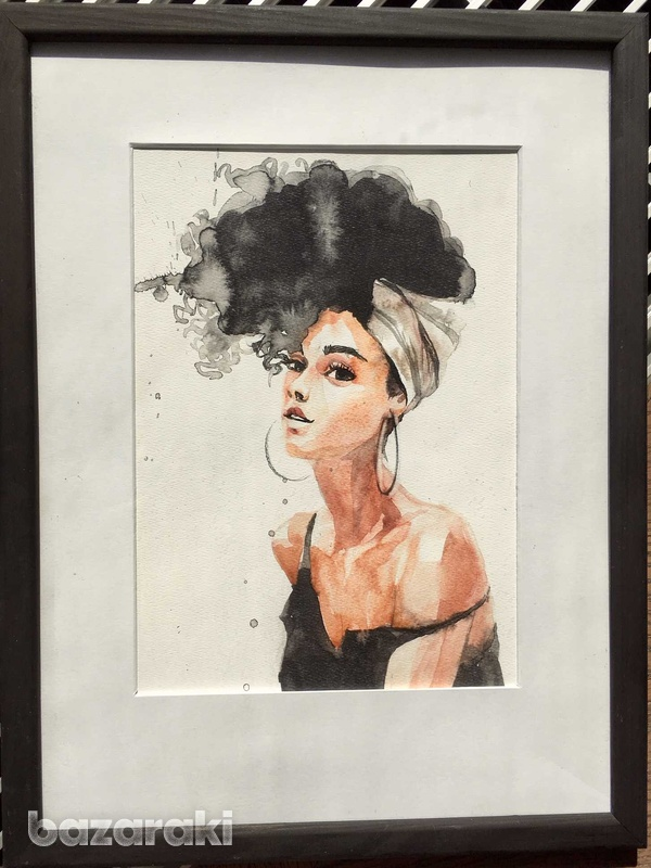 A framed aquarelle of a lady with hair up