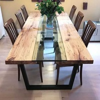Dining table with river glass