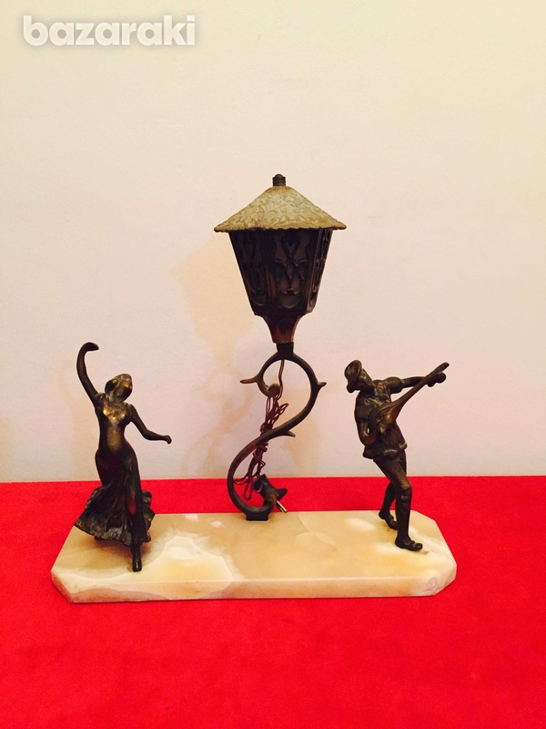 Solid brass figurines on onyx base-4