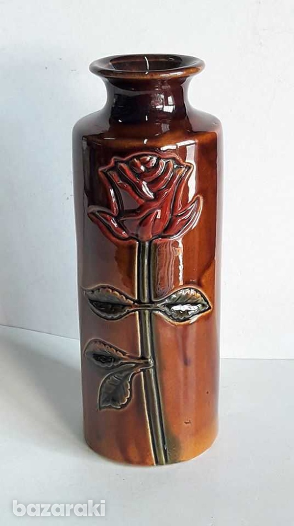Vintage ceramic vase with rose hand made and painted 20cm high-1