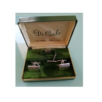 Vintage di carlo hand engraved sterling silver cufflinks tie pin set