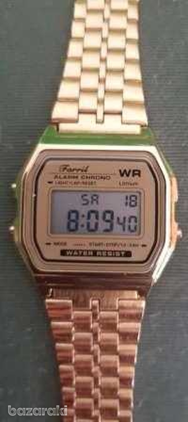 Gold colour large stainless steel lcd digital watches-1