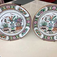 Set of two atique hand painted japanesse plates