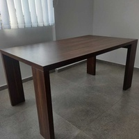 Modern wooden furniture set - dinner and coffee tables, 2 shelves