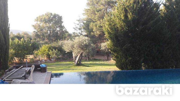 Detached house with big yard, green area, pool,furnished in pyrga-2