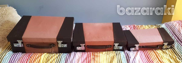 Vintage style wooden suitcase set of 3 / βαλίτσες.-7