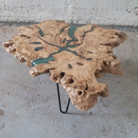 Olive wood coffee table with sparkling blue epoxy
