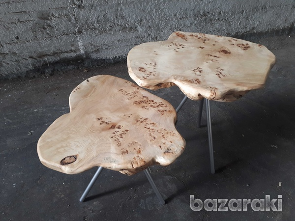 Set of 2 natural poplar table-1