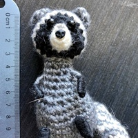 Designer unique knitted raccoon