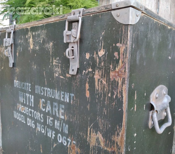 Vintage army large projector box on casters.-7