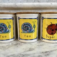 Set of 3x ceramic canisters with lids, england