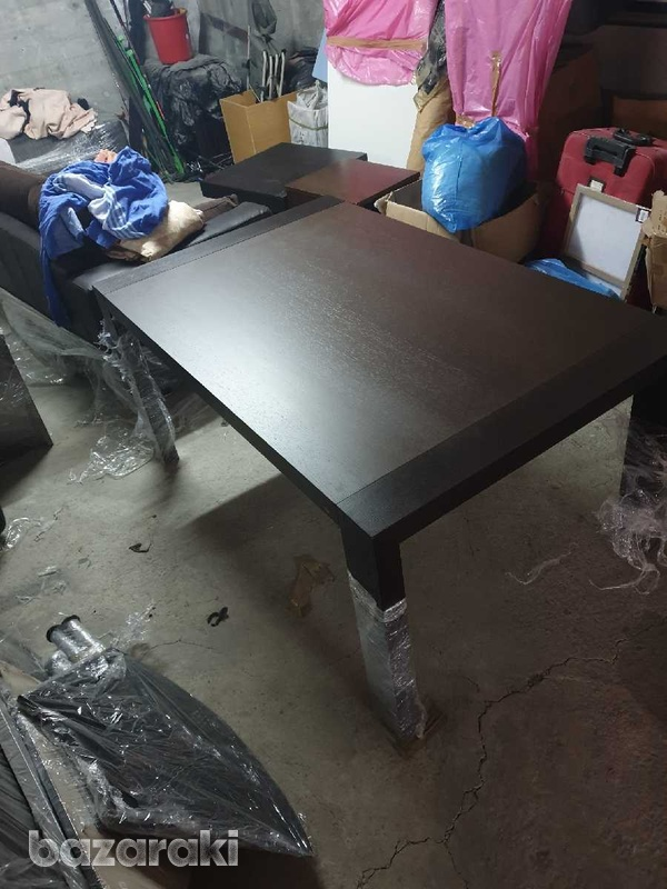 Extendable dining table with 8 leather chairs/ τραπέζι με 8 καρεκλες-2