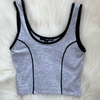 Tally weijl grey cropped tank top with black details