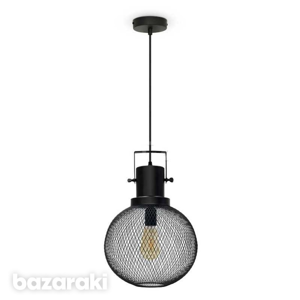Modern mesh pendant light black metal globe
