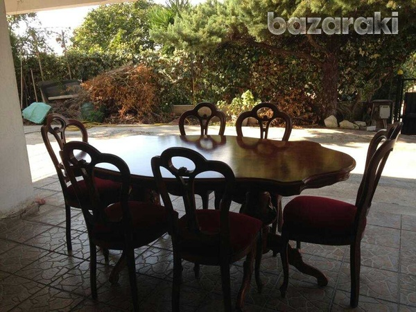 Dinning table and six chairs, coffee table, settee and 2 arm chairs.-1