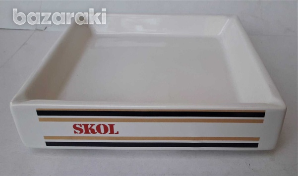 Lot of 2 vintage collectible ceramic porcelain ashtrays advertising sk-4