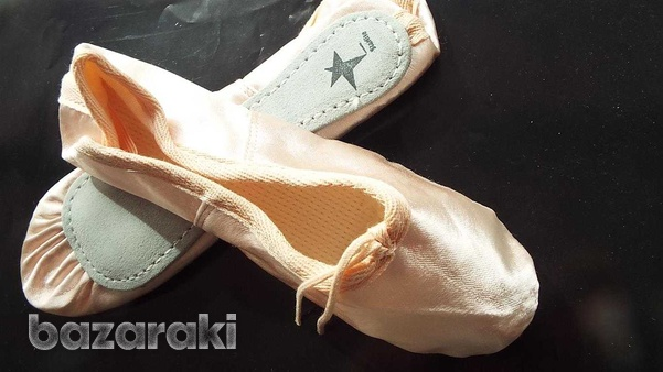 New pink satin ballet shoes