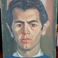 1958 portrait of a man posing hand painted oil on cardboard