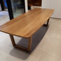 Solid iroko wood dining table