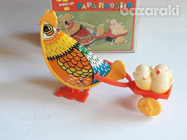 Vintage collectible wind up toy happy paparooster in original box.-4