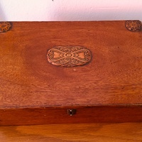 Antique wooden box without key size w-15,2 h-4,2inch