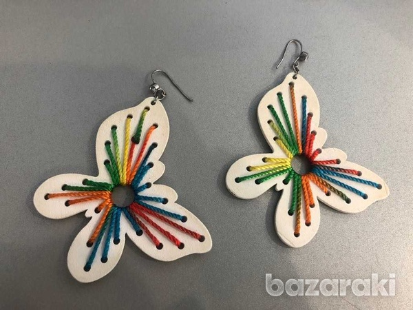 Handmade cream embroidered butterfly statement earrings