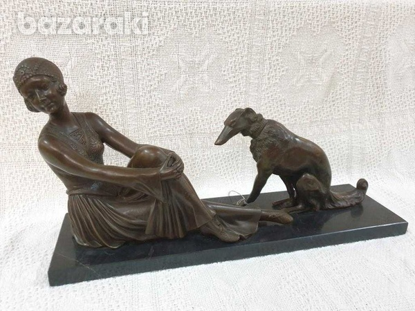 A fine art deco bronze sculpture of seated lady with dog-1