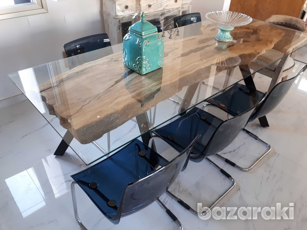 Olive wood dining table with glass top-4