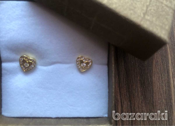Sterling silver gold plated heart crystal earrings-3