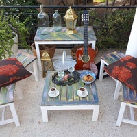 Wooden garden furniture set.