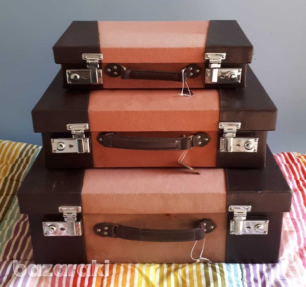 Vintage style wooden suitcase set of 3 / βαλίτσες.-1