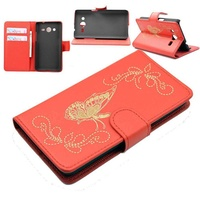 Flip case for samsung galaxy core 2 butterfly red