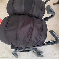 Double stroller and two car seat maxi cosi