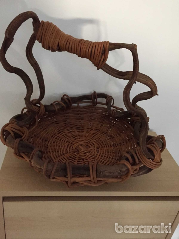 Hand made wooden basket 32cm-4
