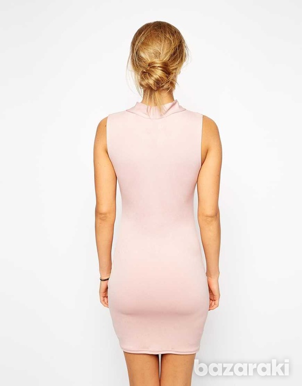Asos pale pink mini bodycon dress with bow uk 12-2