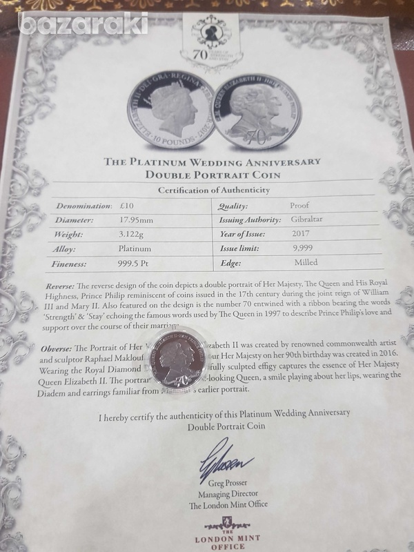 Rare platinum coin with certificated