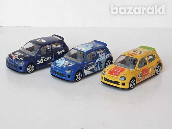 Lot of 3 burago diecast model rally cars renault clio trophy 1/43 scal-3