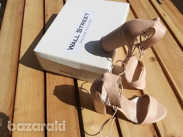 Lace up-ankle real leather sandals - in dusty pink /nude color-7