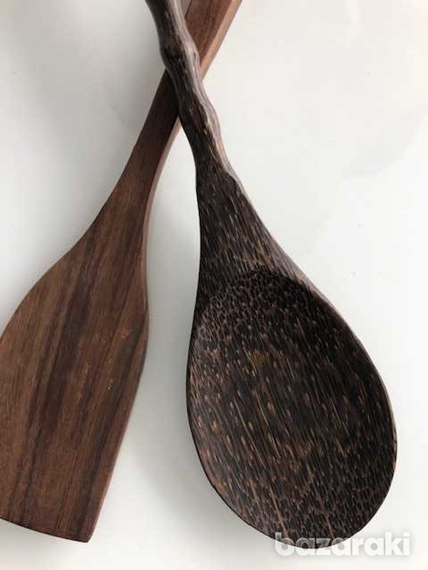Salad set of a huge wooden spoon and a spadula-2
