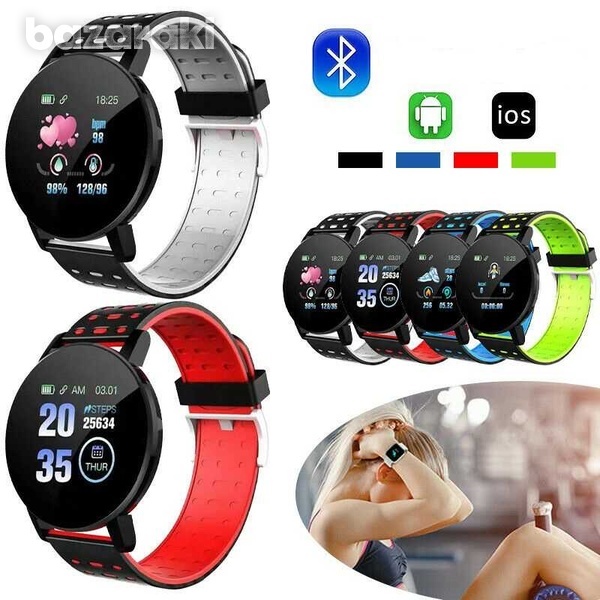 119plus fitness watch blood pressure heart rate pedometer fitness tracker-1