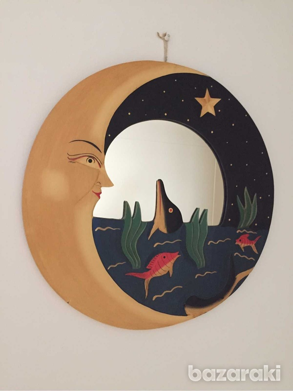 Handmade wooden moon and dolphin round mirror decoration-1