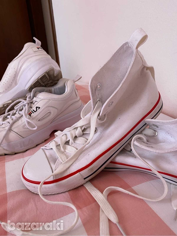 Fila shoes and white&red sneakers-1
