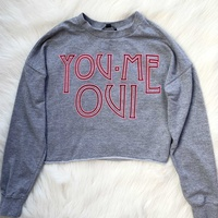 Tally weijl grey cropped sweatshirt with neon pink details