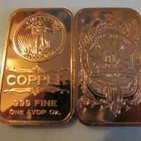 1 oz walking liberty .999 fine copper bullion art bars