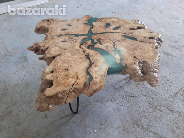 Olive wood coffee table with sparkling blue epoxy-3